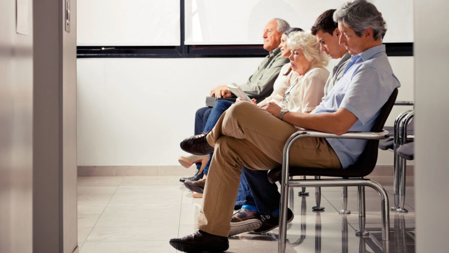 Many patients waiting in doctor's office lobby