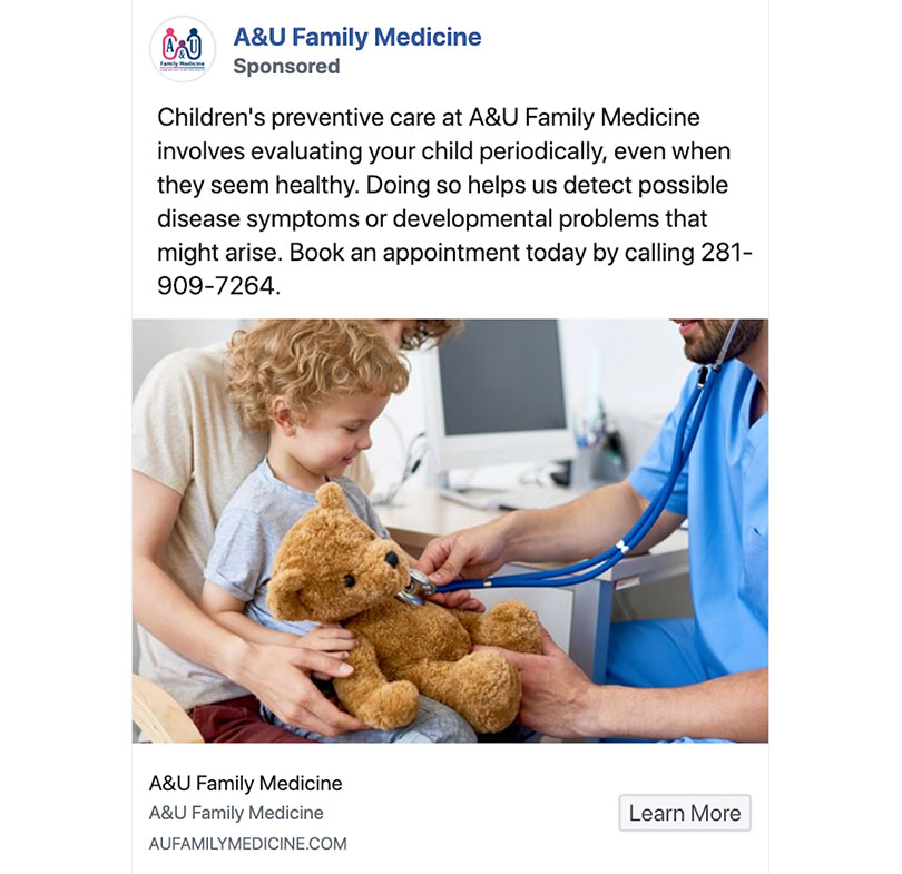 Facebook ads for doctors example
